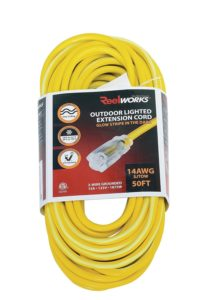 REELWORKS Extension Cord Long 50 FT Heavy Duty Commercial Premium Grade 14AWG SJTOW Cable Single Light Up Tap w/Glow Strip For Indoor & Outdoor Ultra Flexible Weather UV Oil Acid Ozone Resistant