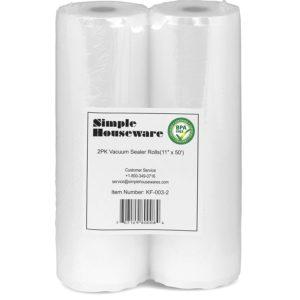 "2 Pack - 11"" x 50' Vacuum Sealer Rolls Food Storage Saver Commercial Grade Bag (total 100 feet)"
