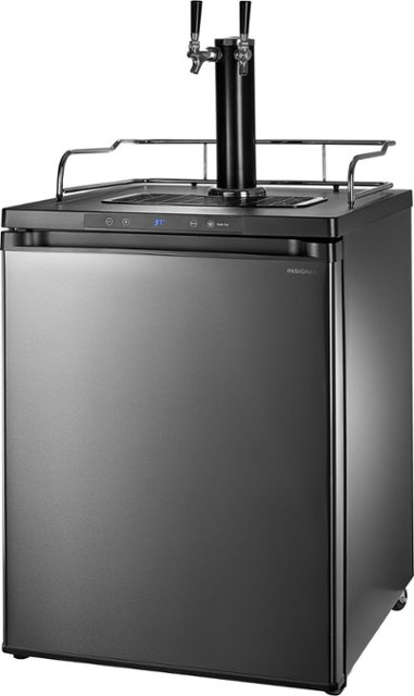 Insignia™ - 5.6 Cu. Ft. Dual Tap Beverage Cooler & Kegerator - Black stainless steel