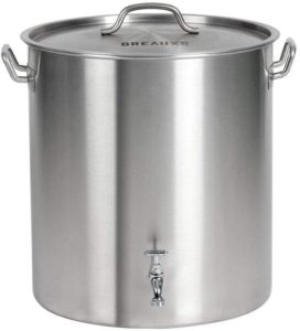 BREAUXS 60 Quart Stainless Steel Stockpot with Raised Deep Steamer Strainer, Boil Basket