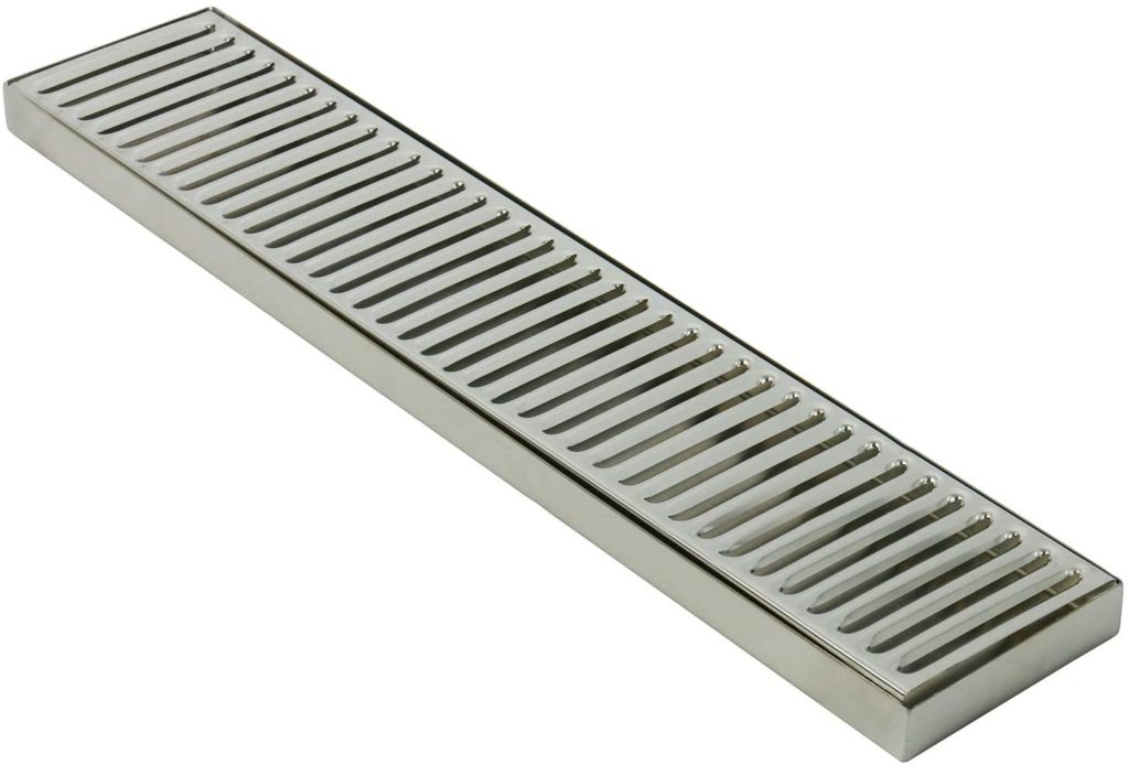 """DasMarine 19"""" Length 4"""" Width Rectangular Stainless Steel Beer Surface Mount Drip Tray, No Drain, Silver"""