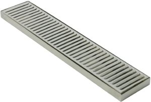 "DasMarine 19"" Length 4"" Width Rectangular Stainless Steel Beer Surface Mount Drip Tray, No Drain, Silver"