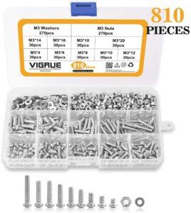 VIGRUE 810Pcs M3 Screw Assortment Kit 304 Stainless Steel Phillips Pan Head Machine Screws Bolts Nuts Lock Flat Washers with Storage Box