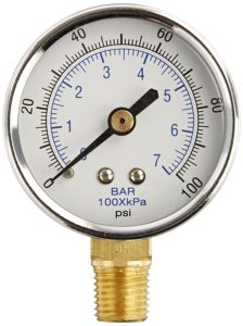 "PIC Gauge 101D-204E 2"" Dial, 0/100 psi Range, 1/4"" Male NPT Connection Size, Bottom Mount Dry Pressure Gauge with a Black Steel Case, Brass Internals, Chrome Bezel, and Plastic Lens"