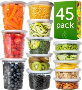 Plastic Containers with Lids Set 45 Pack - Freezer Containers Deli Containers with Lids - Meal Prep Containers for Food Storage Containers -(Mixed Sizes) Plastic Food Containers by Prep Naturals
