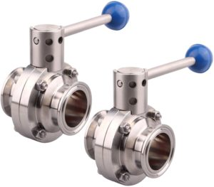 """DERNORD 2 Pack 1.5 Inch Tri Clamp Sanitary Butterfly Valve with Pull Handle Stainless Steel 304 Tri Clamp Clover (1.5"""" Tri Clamp Butterfly Valve)"""