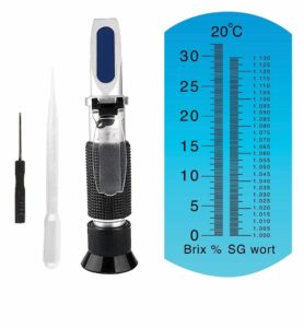Brix Refractometer for Homebrew Beer Wort Refractometer, Dual Scale Beer Refractometer Specific Gravity 1.000-1.120 and Brix: 0~32%, ATC Wort SG Refractometer Replaces Homebrew Hydrometer