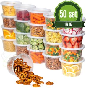 Safeware 16oz [50 Sets] Deli Plastic Food Storage Containers with Airtight Lids - Great for Slime, Soup, Portion Control and Meal Prep | Microwave | Dishwasher | Freezer Safe | Leakproof | Stackable
