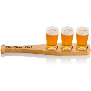 The Beer Bat Baseball Beer Flight Set with Hardwood Bat Paddle and 3 Beer Tasting Glasses (5oz) - A fun gift for Beer Lovers and Baseball Fans