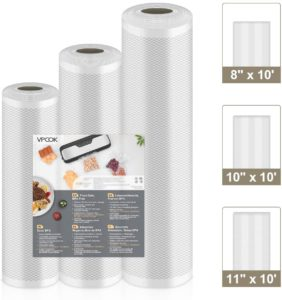 "VPCOK Vacuum Sealer Bags 3 Rolls 8"" x 10', 10"" x 10', 11"" x 10' Vacuum Seal Roll 3 Pack BPA Free Fit VPCOK Vacuum Sealer Sous Vide Bags for Food Saver Food Storage Bag Roll Vac Storage Meal Prep"