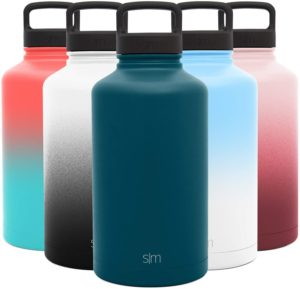Simple Modern 64 Ounce Summit Water Bottle - Large Stainless Steel Half Gallon Flask +2 Lids - Wide Mouth Double Wall Vacuum Insulated Blue Leakproof -Riptide