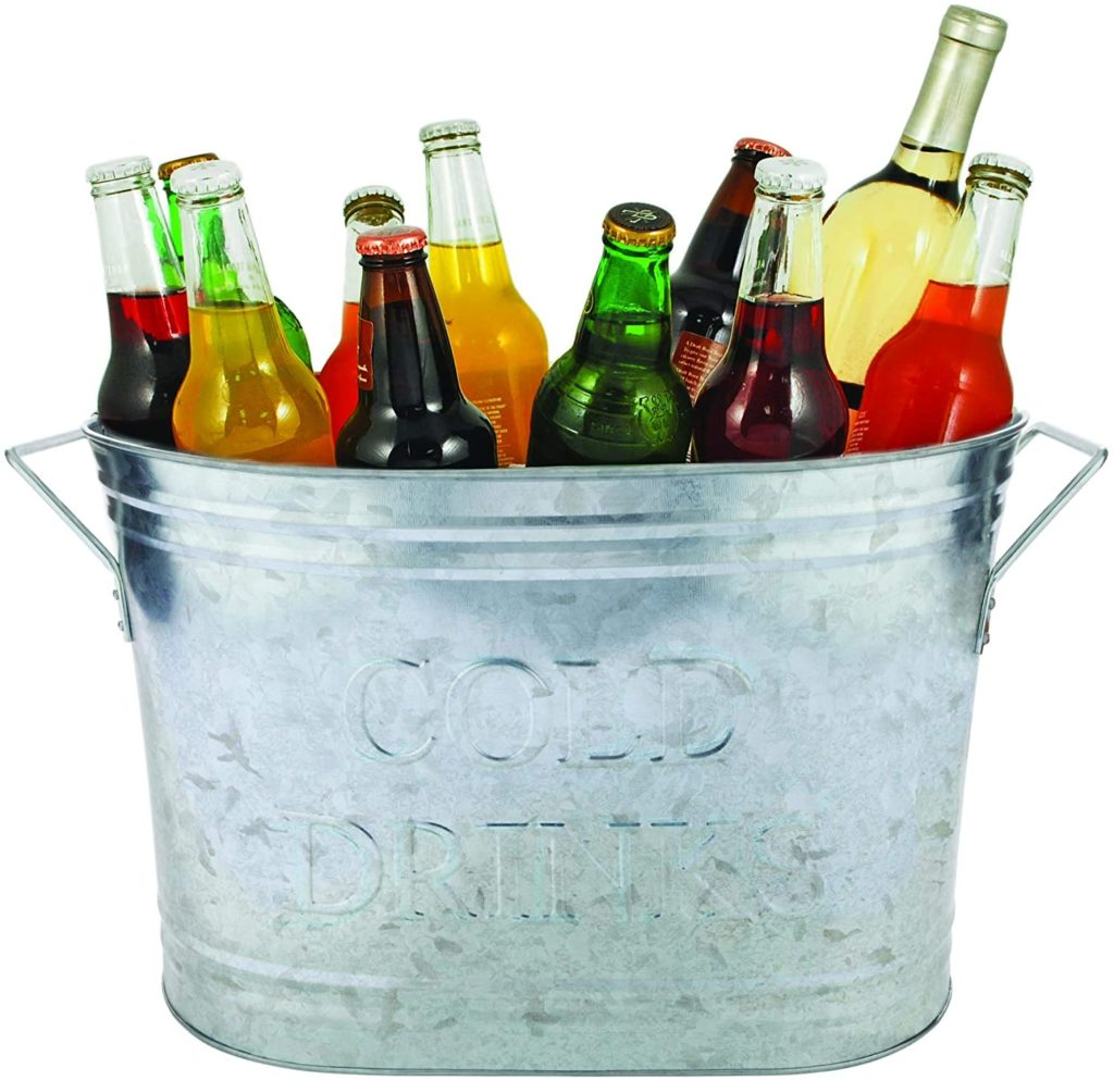 Twine Country Home Cold Drinks Galvanized Metal Tub, 5.25 gallons