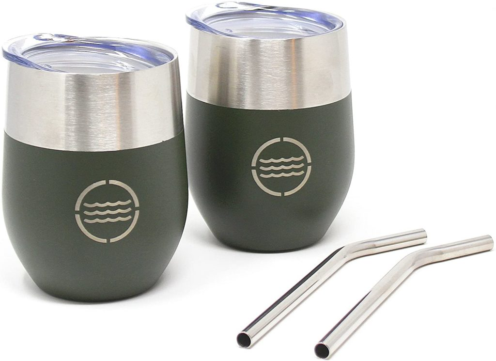 VistosoHome 2-Pack Stainless Steel Camping Mug with Lid & Stainless Steel Straw (Forest Green) - 12oz Wine Glass Tumbler Cups for Wine, Beer, Cocktails, Soda - Double Wall 304 Steel & Spill Proof