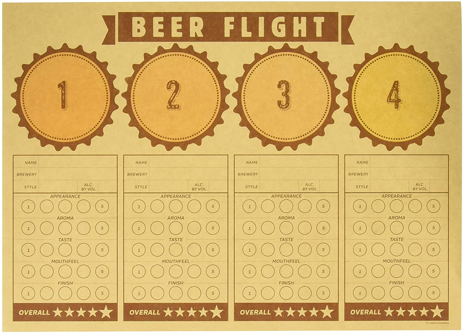 """Creative Converting Cheers & Beers Beer Flight Placemats Party Supplies, 14"""" x 10"""", Multicolor"""