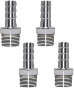 "Horiznext 304 Stainless Steel 1/2"" Barb Hose to 1/2 NPT Home Brew pipe barbed nipple Fitting. Pack of 4"
