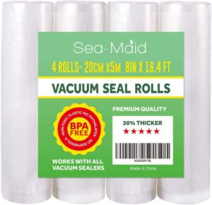 "Vacuum Sealer Roll Bags 4 Pack 8""x16.4' Commercial Food saver Storage Rolls for Sous Vide Seal Bags BPA Free"