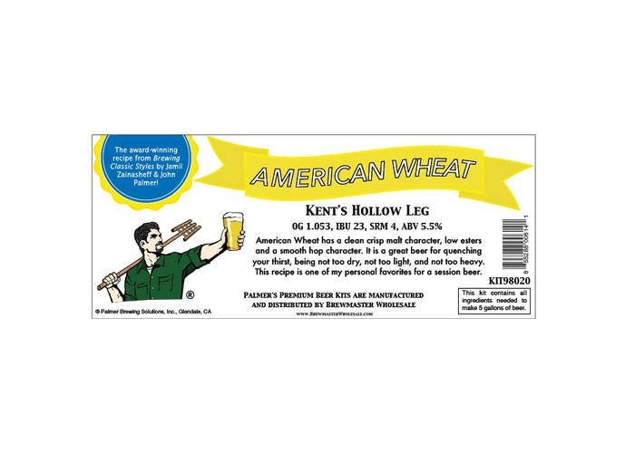 Palmer Premium Beer Kits - Kent's Hollow Leg - American Wheat KIT98020