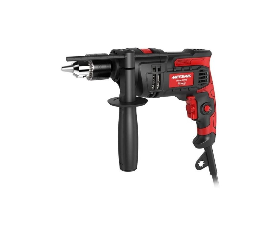 Hammer Drill Meterk 7.0 Amp 1/2 Inch Corded Drill 850W, 3000RPM Dual Switch Between Impact Drill and Electric Drill, With Adjustable Speed for Drilling Wood, Steel, Concrete&Plastic DIY Drilling