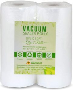 Accenter Vacuum Sealer Bags 2 pack 8''x 50' Rolls Commercial Grade Food Saver Bags For Seal a Meal, BPA Free, Heavy Duty, Great for vac storage, Meal Prep or Sous Vide