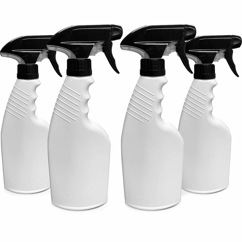 HavenLab 16oz 4 Pack Reusable Plastic Spray Bottle Sprayer for Bleach, Auto Detailing, Water Plants, Grilling, Haircuts, Cleaning, Disinfectant, Chemicals, HDPE, Non-BPA, Easy Squeeze Trigger.