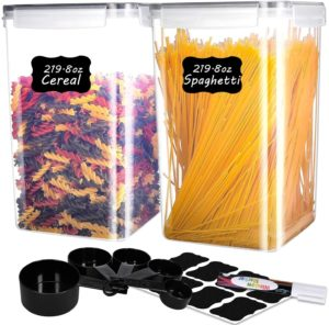 ME.FAN LARGEST Food Storage Containers [Set of 2] Airtight Storage Keeper 6.5L(219.8oz) Cereal Containers with 5 Set Measuring Cups 24 Chalkboard labels & Pen Ideal for Spaghetti, Sugar, Flour (Black)