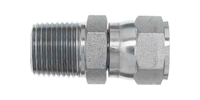 "Brennan Industries 6505-04-04 Steel Straight Tube Fitting, 1/4""-18 NPTF x 7/16""-20 SAE Thread, 1/4"" Male NPTF x 1/4"" Female JIC Swivel"
