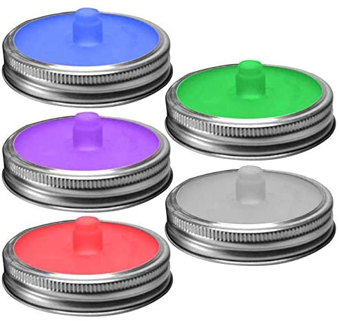 sportuli Silicone Fermentation Lids with Steel Ring,5 Sets Waterless Airlock Wide Mouth Mason Jar Fermenter Caps for Pickle, Sauerkraut, Kimchi and Fermented Probiotic Food