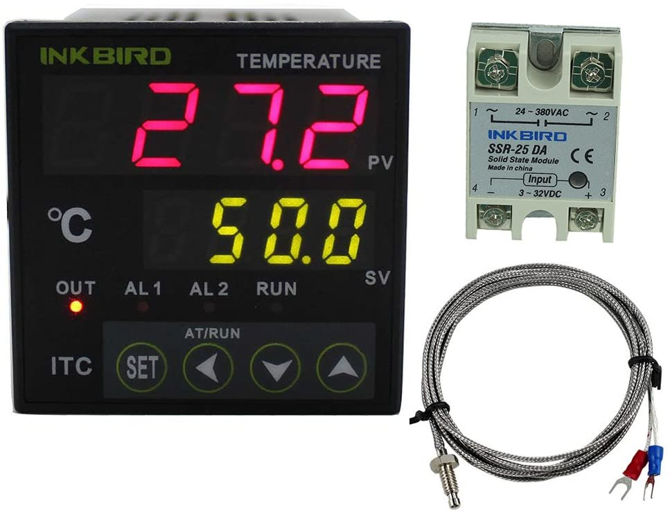 Inkbird Digital PID Temperature Controller Thermostat with Relay ITC-100VH with 25DA SSR K Thermocouple