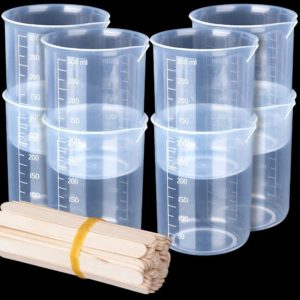 8 Pack 300ml Liquid Measuring Mixing Cups for Epoxy Resin, LEOBRO Graduated Plastic Measuring Cups for Resin with 50 PCS Mixing Sticks, Multipurpose Mixing Cups for Resin Epoxy Paint Food, Lab Use