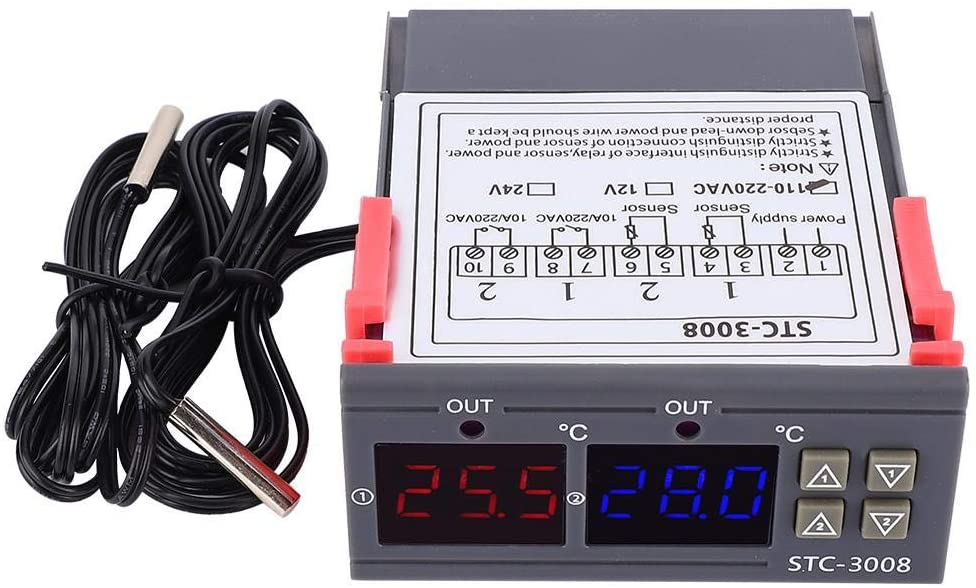 Digital Temperature Controller, STC-3008 Digital Temperature Switch Controller Thermostat Sensor with Dual NTC Adjustable Temp Control Thermostat, Thermostat Digital Control Switch (12V)
