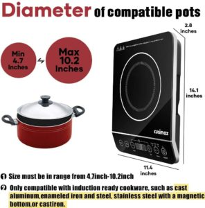 Induction Cooktop, CUSIMAX 1800W Portable Induction Burner with Timer, Sensor Touch Countertop Burner, 10 Temperature and 9 Power Setting, Kids Safety Lock for Cast Iron, Stainless Steel Cookware