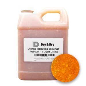 """Dry & Dry"""" [1 Quart Premium Orange Indicating Silica Gel Desiccant Beads(Industry Standard 2-4 mm) - Rechargeable Silica Gel Beads(2 LBS)"""