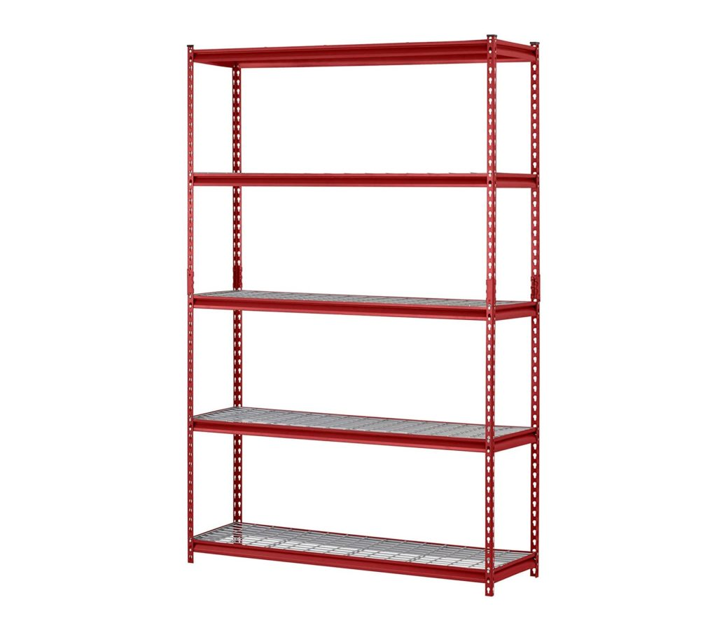 "Muscle Rack UR301260WD5-R 5-Shelf Steel Shelving Unit, 30"" Width x 60"" Height x 12"" Length, Red"