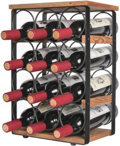 X-cosrack Rustic 12 Bottles Wine Holder Rack Tabletop Wine Racks Countertop Wine Bottles Organizer Stand Tabletop Liquor Storage Shelf Wood & Iron 12.60''L x 7.9''W x 17.8''H