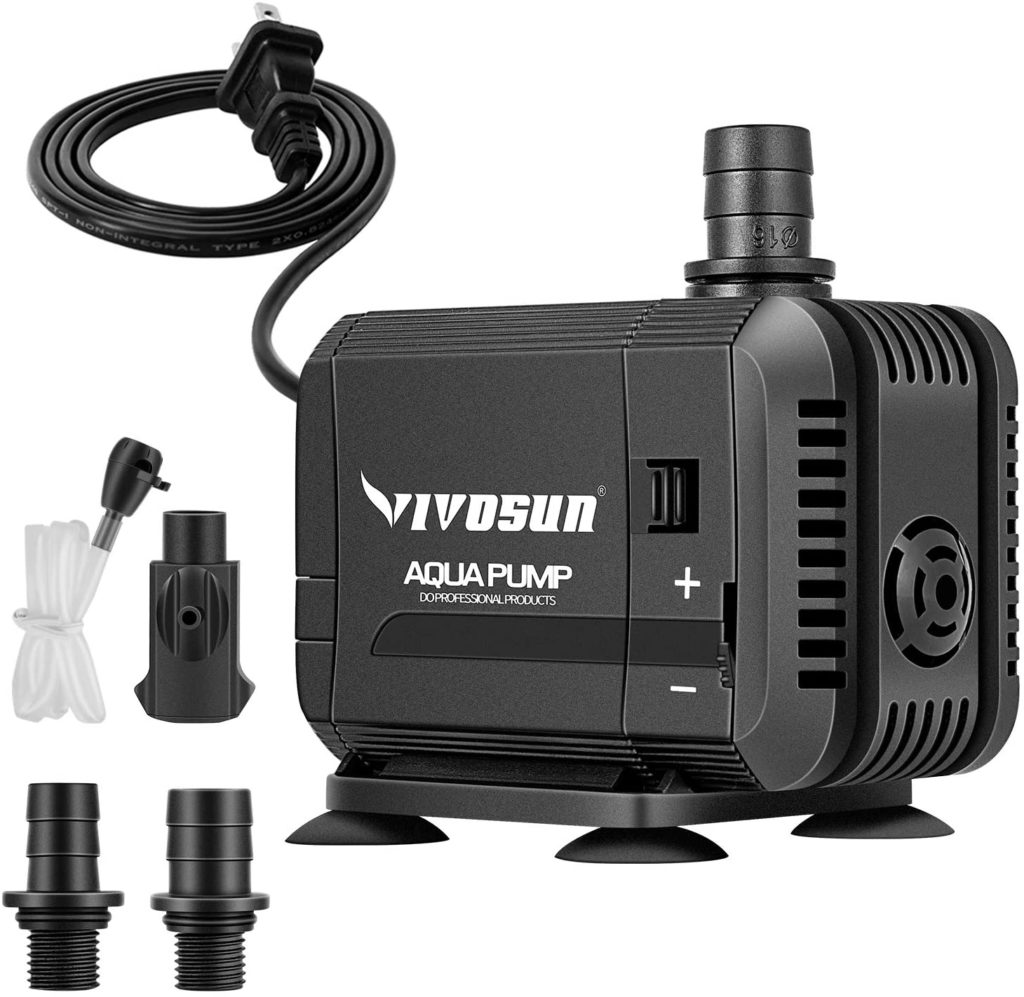 VIVOSUN 400GPH Submersible Pump(1500L/H, 15W), Ultra Quiet Water Pump with 5.2ft High Lift, Fountain Pump with 5ft Power Cord, 3 Nozzles for Fish Tank, Pond, Aquarium, Statuary, Hydroponics