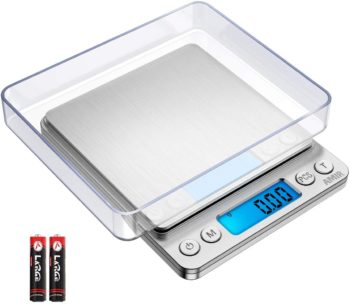 Brifit Digital Pocket Scales, 500g High-precision Kitchen Food Scales, Jewelry Scales, Pro Scales with Back-Lit LCD Display, Tare and PCS Features, Stainless Steel, Batteries Included