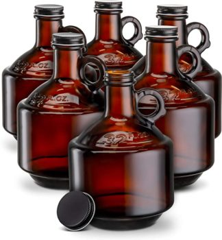 Amber Glass Bottles, by Kook, Growlers, with Black Plastisol Lined Lids, Beer, Soda, Cider, Kombucha, Set of 6, 32oz,