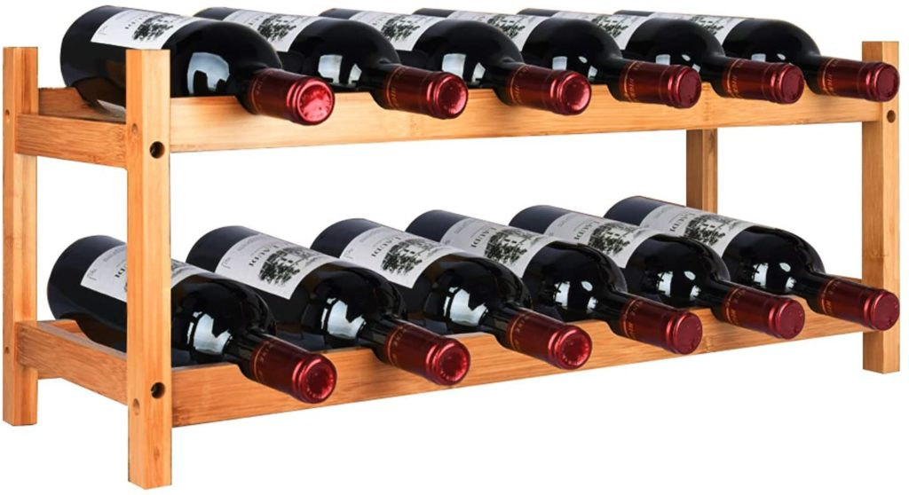 RIIPOO Wine Rack, 2 Tier 12 Bottles Nature Bamboo Wine Holder, Countertop Wine Rack, Free Standing Wine Storage Shelf