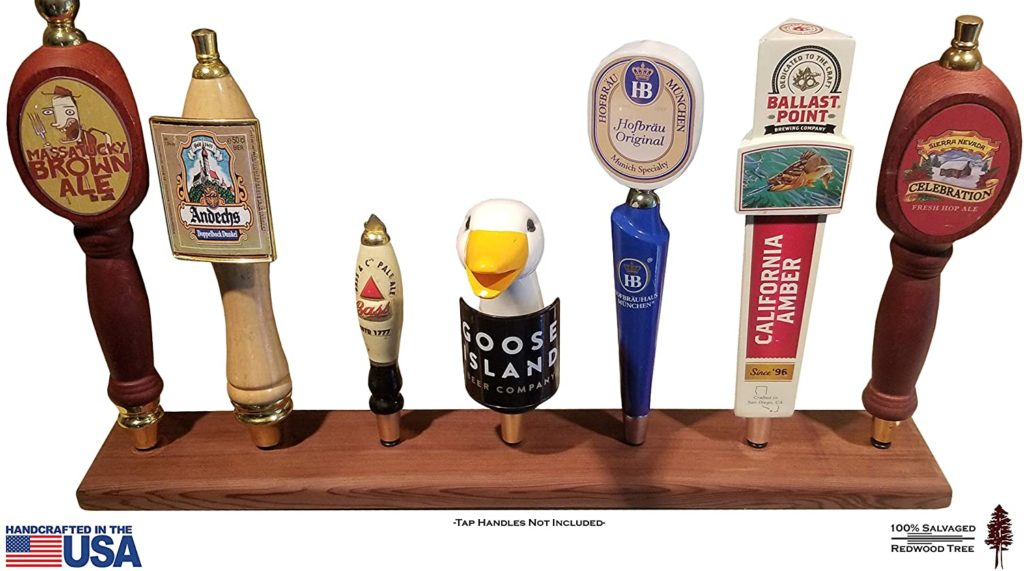 Beer Tap Display Stand - Reclaimed Redwood, Hand Made in USA, holds Seven (7) Tap Faucet Handles