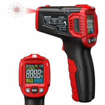 Infrared Thermometer, ZOTO Color Screen Non Contact Digital Laser Thermometer Temperature Gun -58℉~1022℉ (-50℃ ~ 550℃) with Adjustable Emissivity and Max Measure for Kitchen Cooking BBQ Automotive