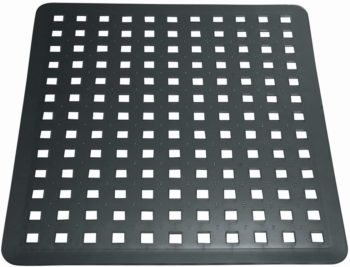 "iDesign Euro Plastic Sink Grid, Non-Skid Dish Protector for Kitchen, Bathroom, Basement, Garage, 12.5"" x 11"" - Black"