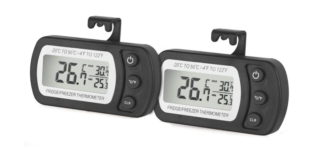 Refrigerator Fridge Thermometer Digital Freezer Room Thermometer Waterproof, Max/Min Record Function with Large LCD Display (Black-2 Pack)