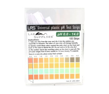 Plastic pH Test Strips, Universal Application (pH 0.0-14.0, 0.5 pH Intervals), 100 Strips