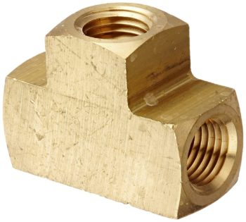 "Eaton Weatherhead 3700X4 Brass CA360 Fitting, Tee, 1/4""NPT Female"