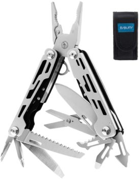Multitool Pliers, 13-in-1 Sandblasted Multi-Purpose Pocket Plier Kit Stainless Steel Multi-Function Tool with Premium Wire Cutters Scissors Bottle Opener and Saw for Survival, Camping, Hunting