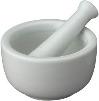 HIC Mortar and Pestle Spice Herb Grinder Pill Crusher Set, Fine-Quality Porcelain