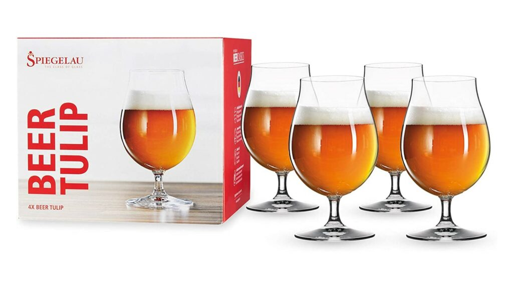 Spiegelau Tulip, Set of 4 Classics, European-Made Lead-Free Crystal, Modern, Dishwasher Safe, Professional Quality Beer Glass Gift Set, 15.5 oz