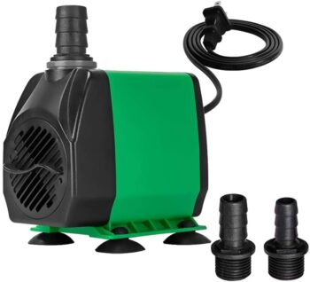 Yokgrass 800GPH Submersible Pump(3000L/H), Ultra Quiet Adjustable Water Pump with 10ft High Lift, Fountain Pump with 5ft Power Cord, 3 Nozzles for Fish Tank, Pond, Aquarium, Statuary, Hydroponics