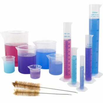 11pcs Plastic Graduated Cylinders and Beakers Set, 10ml, 25ml, 50ml, 100ml, 250ml Cylinders with 25ml, 50ml, 100ml, 250ml, 500ml, 1000ml Beakers and 2 Brushes, Ideal for Science Lab