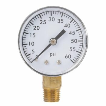 Pressure Gauge, Dual Scale Air Gas Water Gauge 0-60psi with 1/4 Inches NPT Bottom Mount for Air Tank Accessory